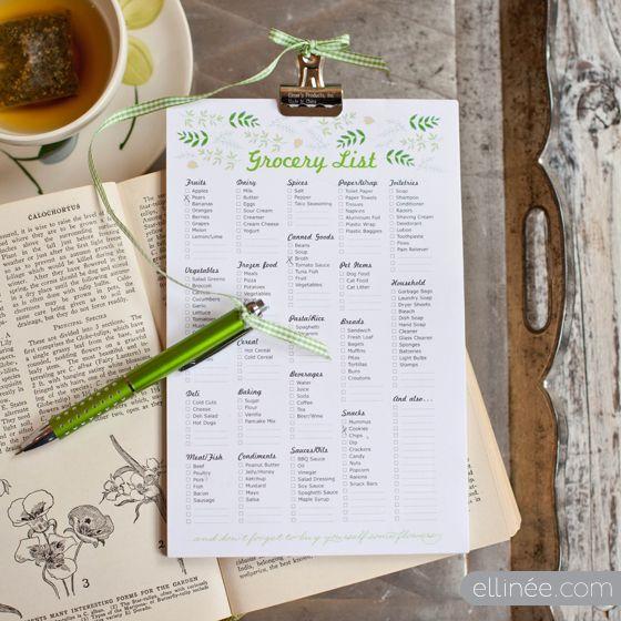 beautiful printable grocery list