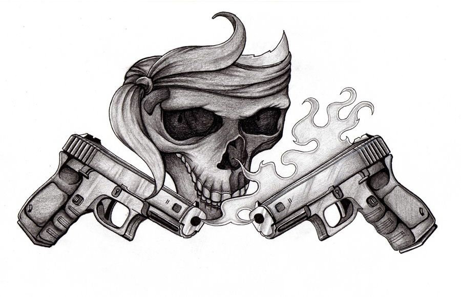 Skulls And Guns Tattoos: Skull N Pistols By 4n7h0n7 On DeviantArt