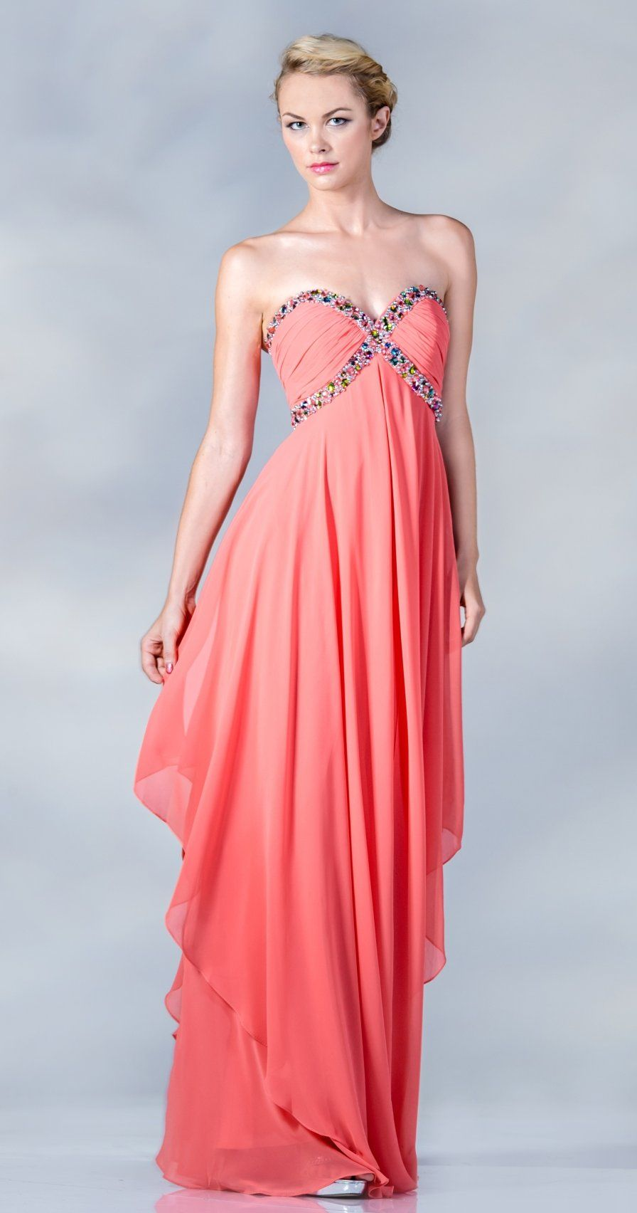 Flowy Coral Prom Gown Chiffon Long Strapless Colorful Jewels $237.99