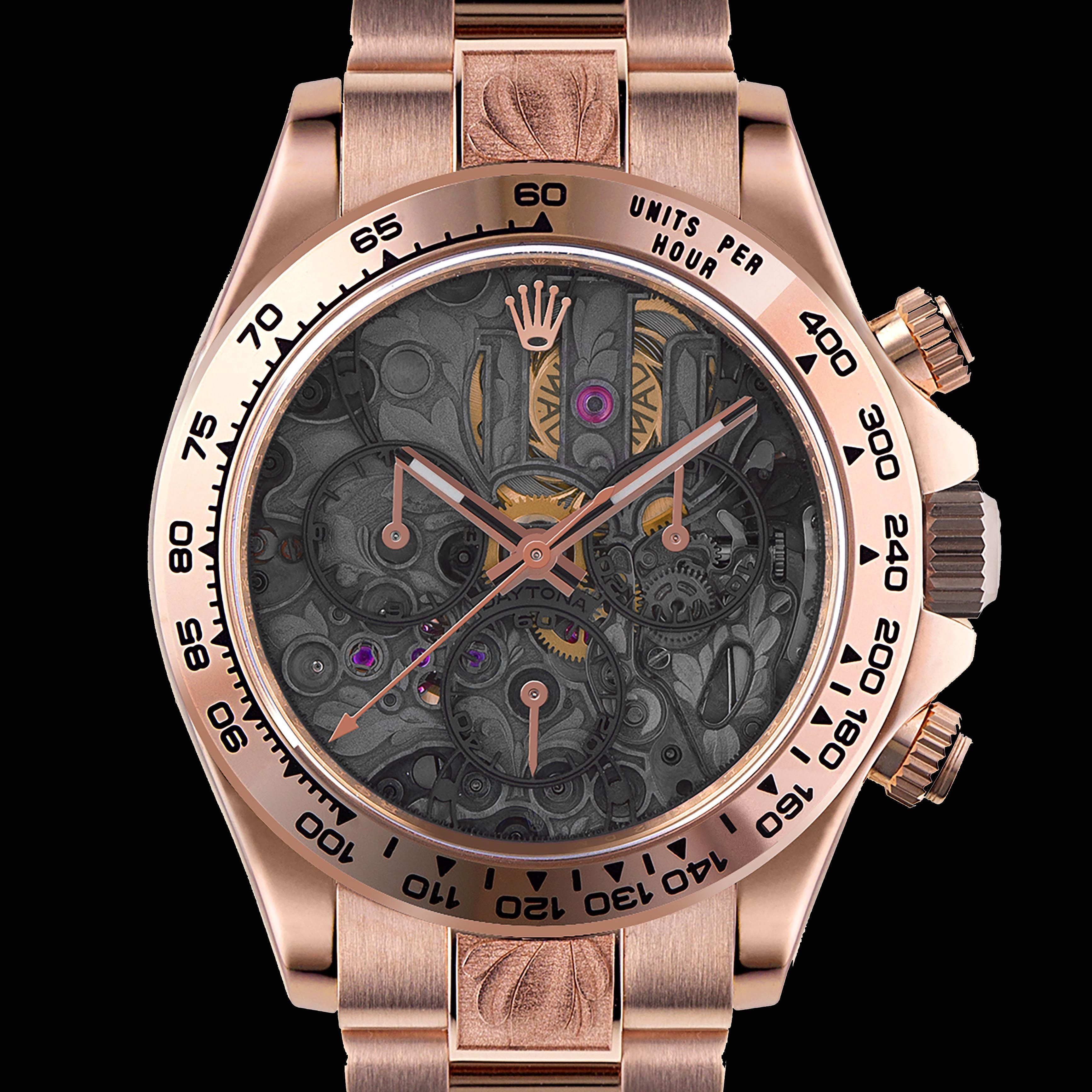 Rolex Daytona Rose Gold Skeleton Dial Watch by MAD Paris