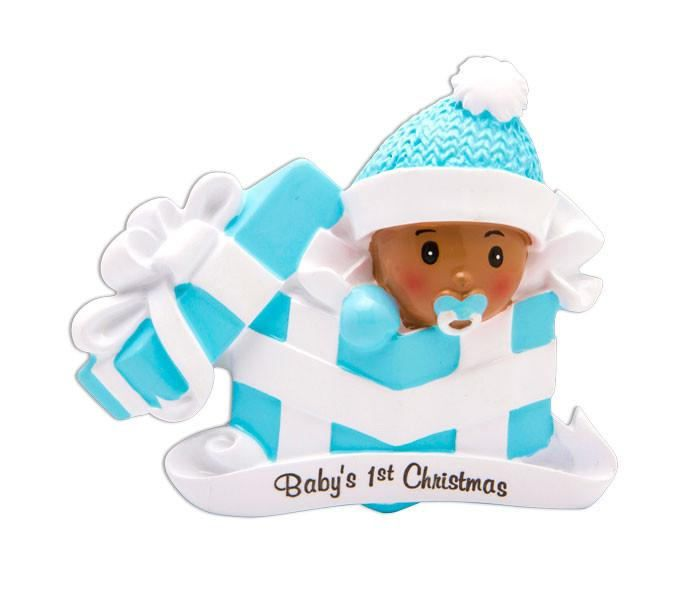 Personalized african american baby boys first christmas ornament personalized african american baby boys first christmas ornament baby present newborn baby shower gift negle Images