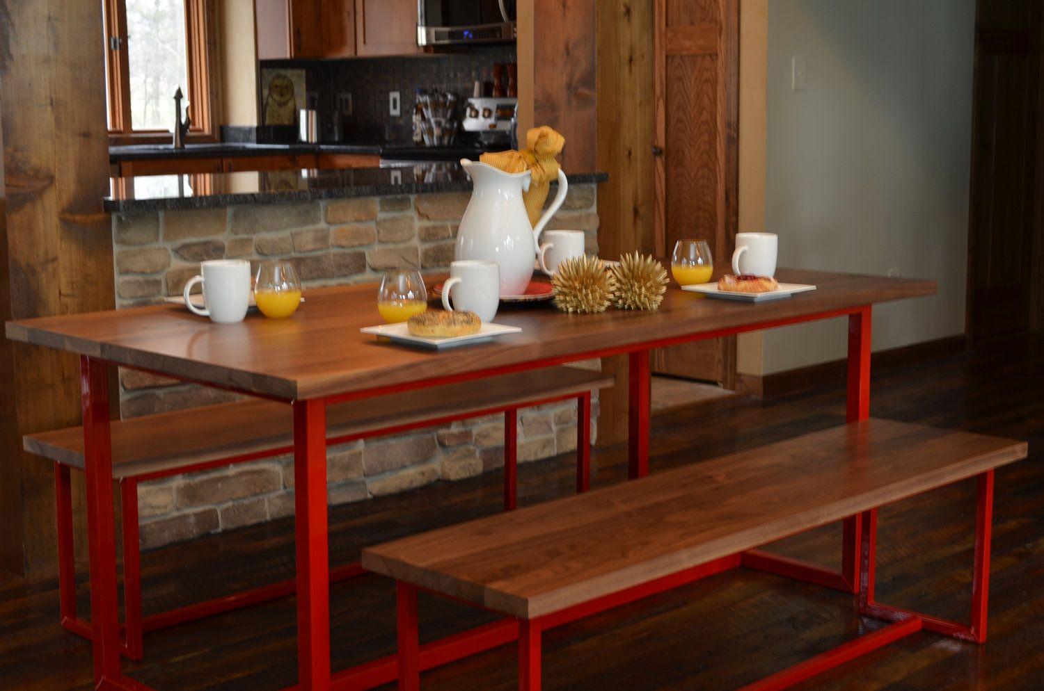 Dining Table Set  Fire House Red Frame / Solid by WyndtreeFuniture, $1,265.00