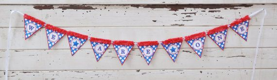 We Are One Banner with Stars Twin 1st by CardsandMoorebyTerri, $27.50