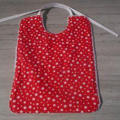 Bavoir bébé coton rouge et étoile blanche et éponge de coton blanche
