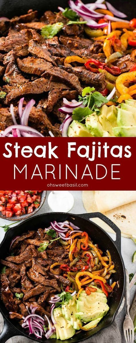 Our favorite steak fajitas marinade has a few secrets that make it extra flavorful and tender. Grilling is optional but produces even more deliciousness! via @ohsweetbasil #steakfajitarecipe