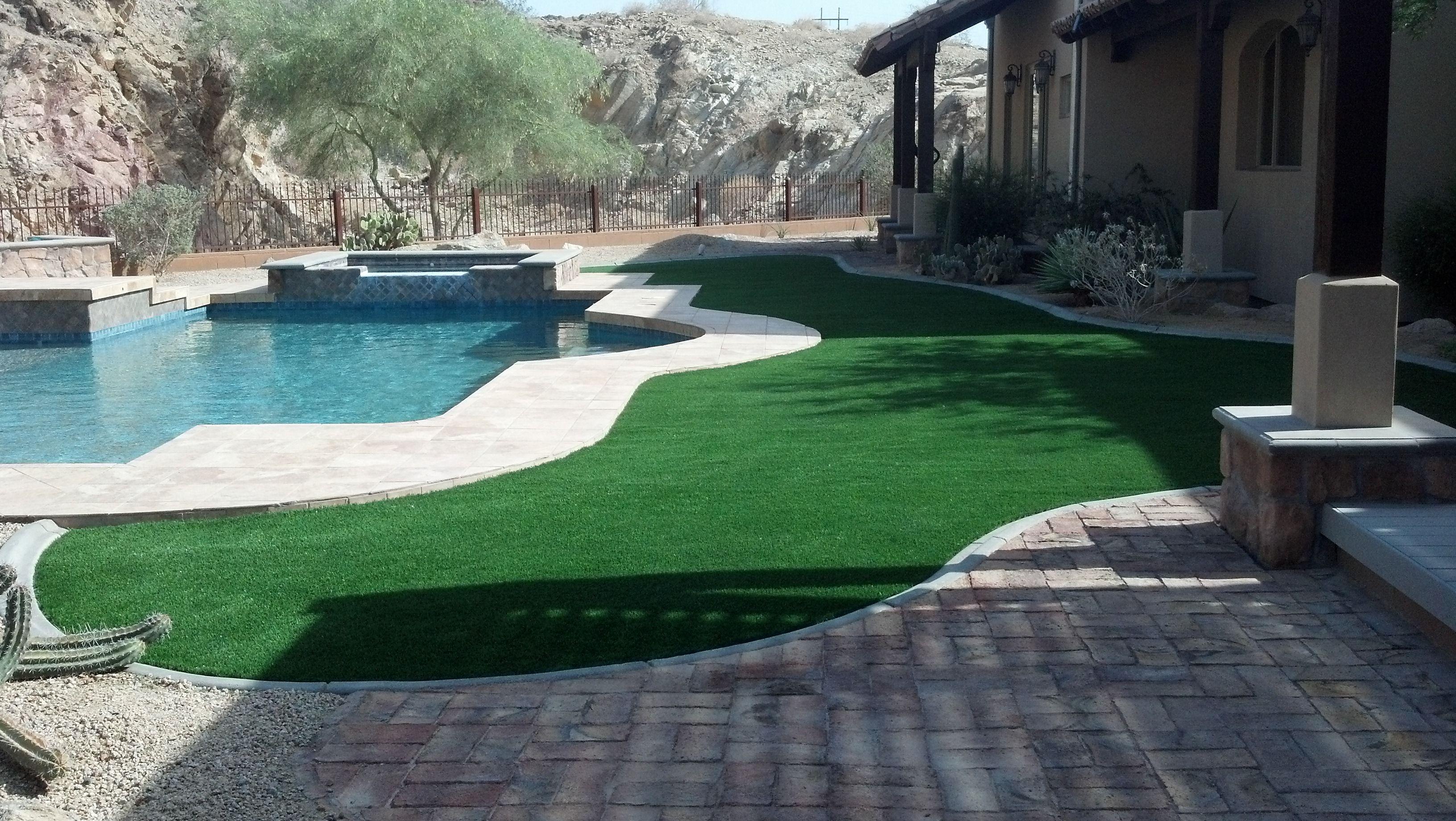 Beautiful Backyard Installation In Yuma Around A Pool Www Easyturf Com L Easyturf L Artificial Grass L Fake Grass Backyard Artificial Lawn Beautiful Backyards