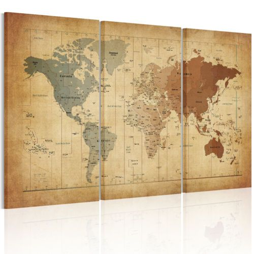 From US Canvas Print Ready To Hang Wall Art PaintingVintage World - Framed us wall map