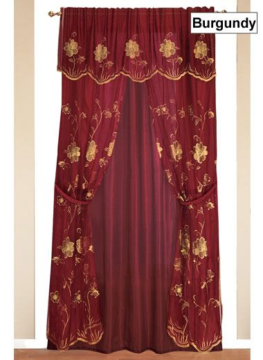 All In One Embroidered Curtain Set Curtains Curtain Sets
