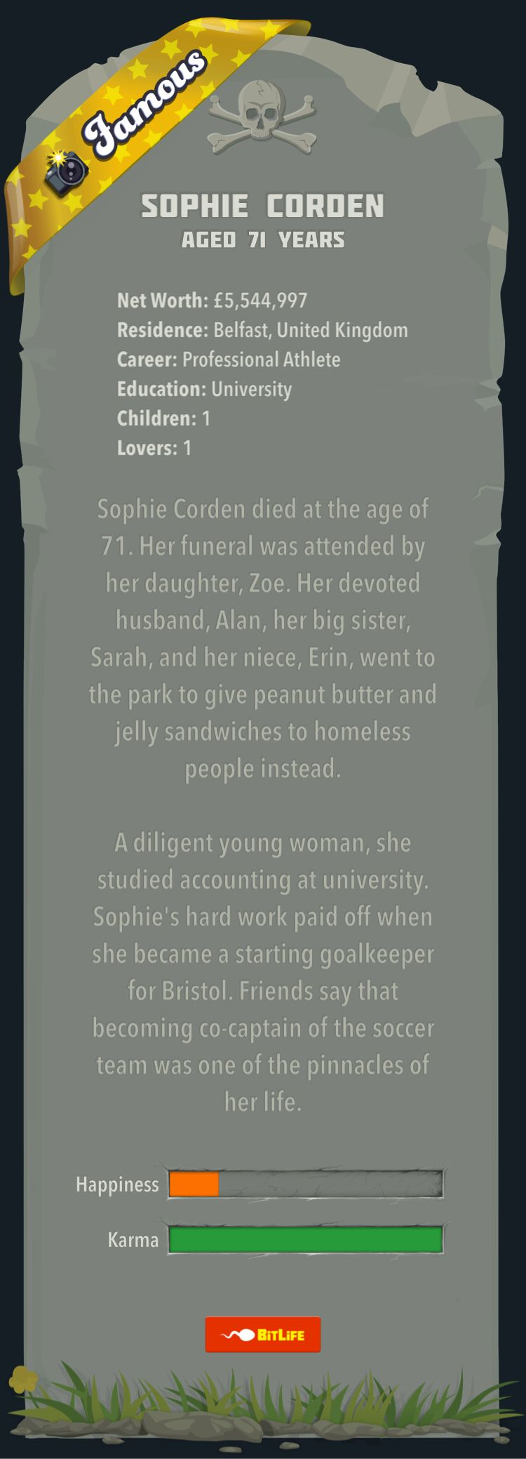 I Just Died In Bitlife At Age 71 While Playing As Sophie Corden I Am Addicted To This Life Simulator Game Www Bitlife Kids School Nursing Education Education
