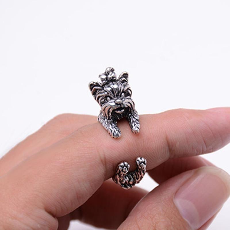 Yorkie Yorkshire Terrier Dog Wrap Ladies Adjustable Ring Silver Black Gold