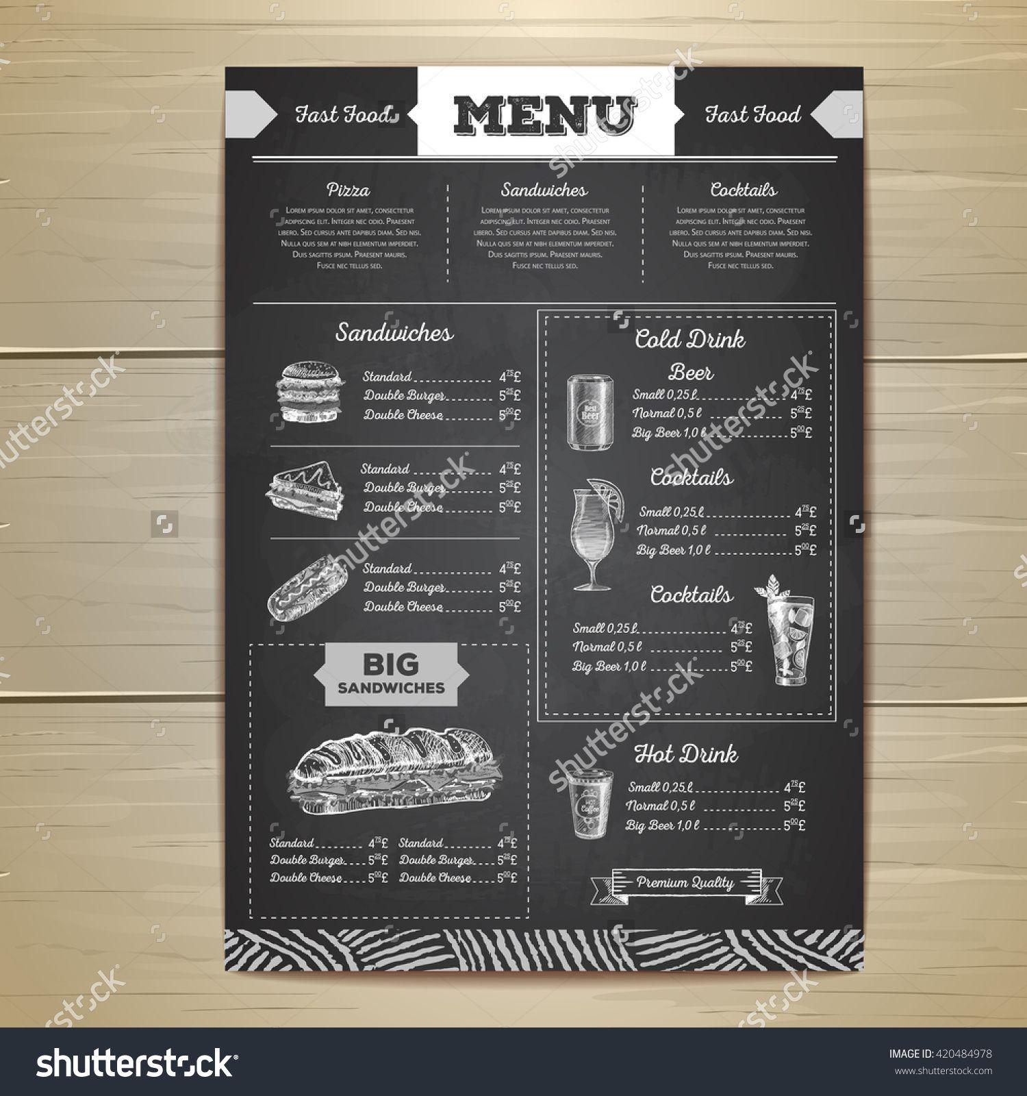 Vintage chalk drawing fast food menu design. Sandwich sketch ...
