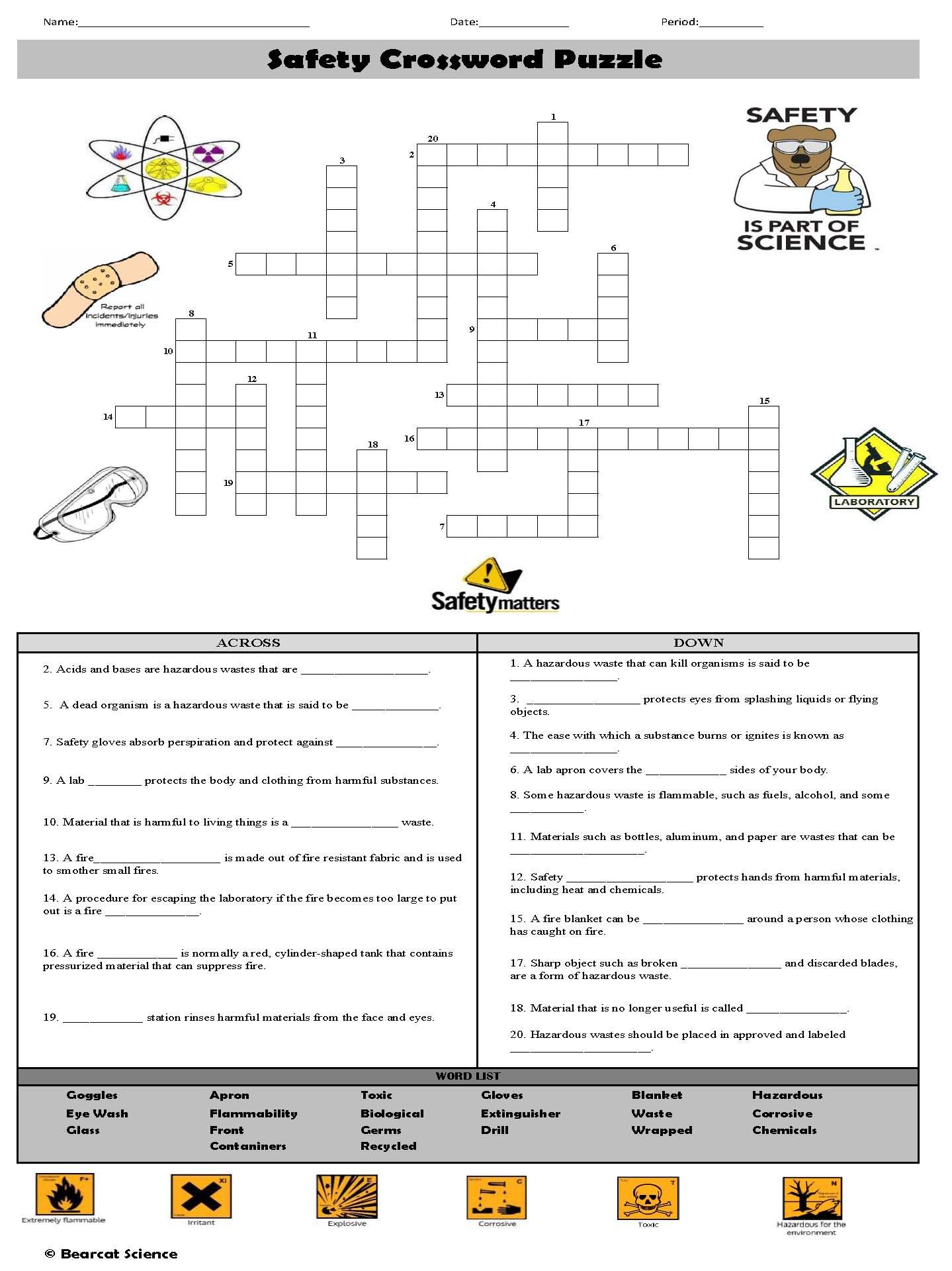 hight resolution of Safety Crossword Puzzle   Crossword