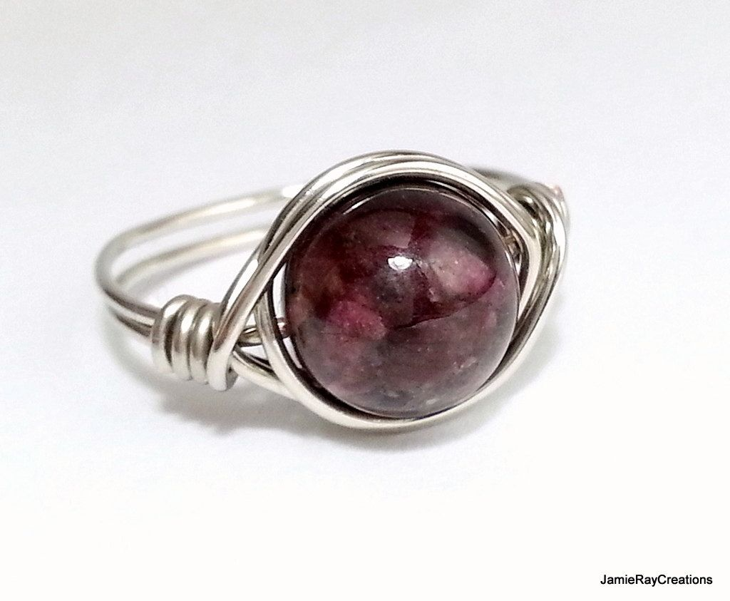 Tourmaline Ring, Silver Wire Wrapped Ring, Burgundy Gemstone Ring ...