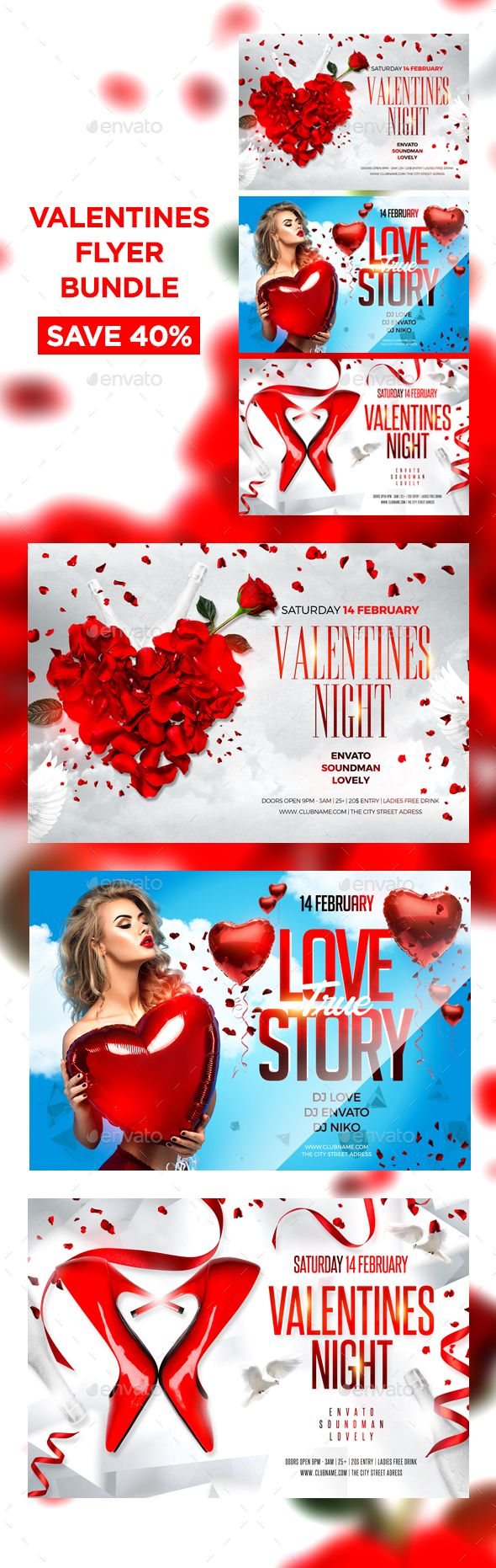 Valentines Flyer Bundle — Photoshop PSD #roses #party flyer • Available here → https://graphicriver.net/item/valentines-flyer-bundle/14727668?ref=pxcr