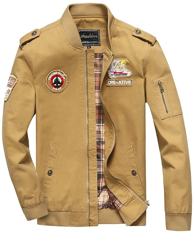 Men S Military Cotton Lightweight Jacket Windbreaker Wind Trench Coat Bomber Jacket Brown C6187eeey3u Mens Jackets Casual Bomber Jacket Men Mens Military Jacket