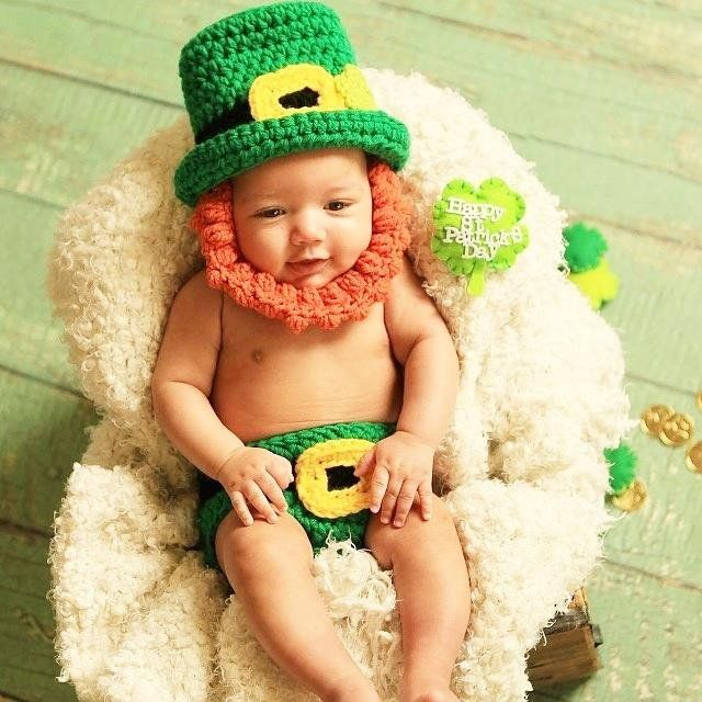 3e806b2a2b0 Crochet Baby St. Patrick s Day Leprechaun Hat Beanie Beard Diaper Cover Set Infant  Newborn Baby Toddler Photography Photo Prop Handmade Baby Shower Gift ...