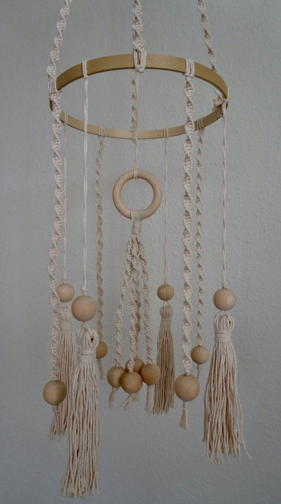 Baby mobile, Macrame mobile, Wooden bead mobile, Boho nursery decor, Boho mobile, Tassel decor, Modern mobile, Gender neutral nursery decor #easyupdo