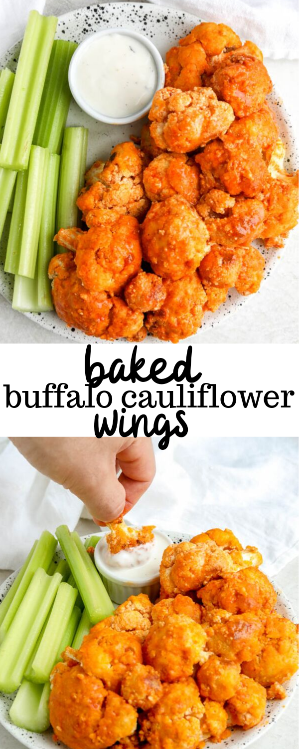A baked buffalo cauliflower wings recipe that creates easy and healthy crispy wings perfect for game day! These whole 30 approved wings are paleo and low carb which makes them perfect for eaters of all type. #buffalowings #cauliflowerrecipes #buffalocauliflower #gameday #healthytailgate