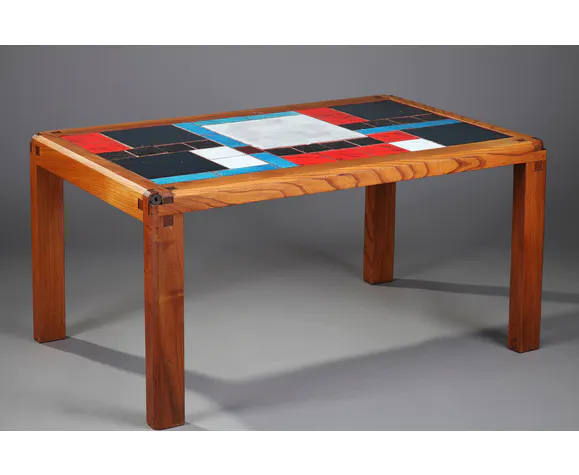 Table Basse En Orme Massif Et Carreaux De Ceramique De Pierre Chapo Bois Materiau Multicolore Design X9oeobc Table Basse Pierre Chapo Massif