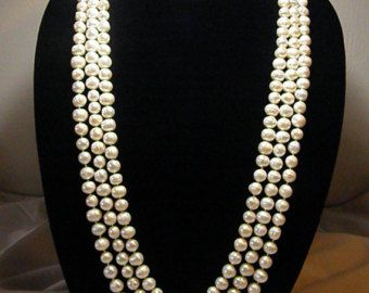 Genuine lustrous white CULTURED FRESHWATER baroque PEARLS, 3 strand necklace - Edit Listing - Etsy