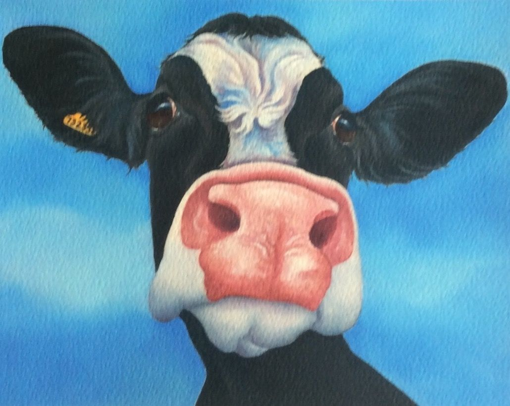 Quirky Smile Making Cow And Animal Paintings By Artist Lizzie Hall Cow Painting Animal Paintings Cow