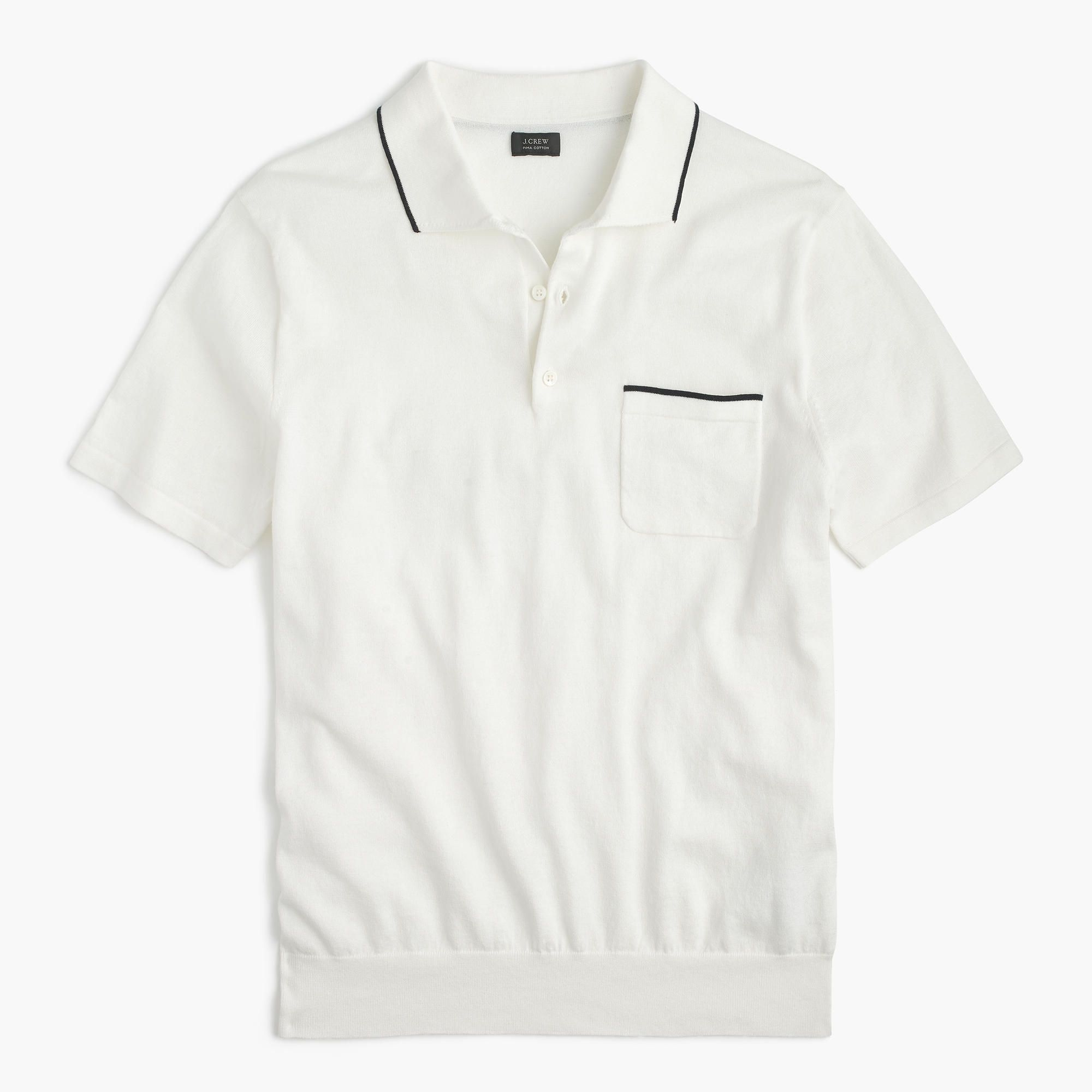 9095bb7a50d3 J.Crew - Pima cotton short-sleeve sweater-polo in white
