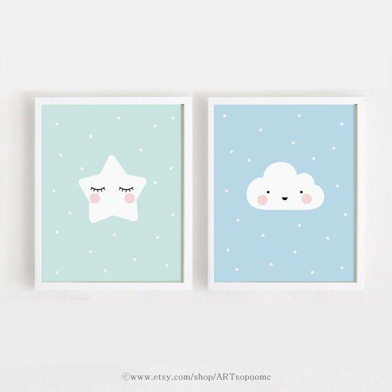 Star and Cloud Baby room decor Printable Nursery Art Set of 2 Poster