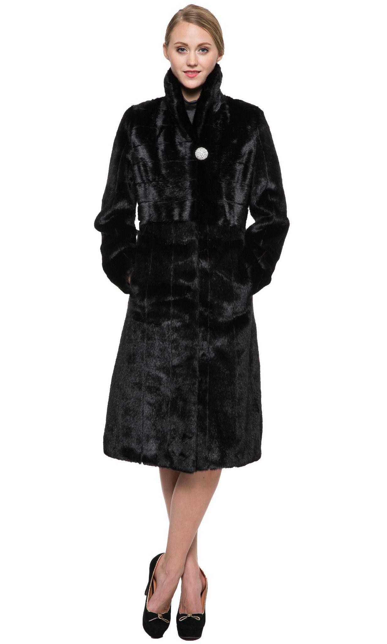 Clearance! Eternity Black Mink Faux Fur Coat Design By Italy   Fur ...