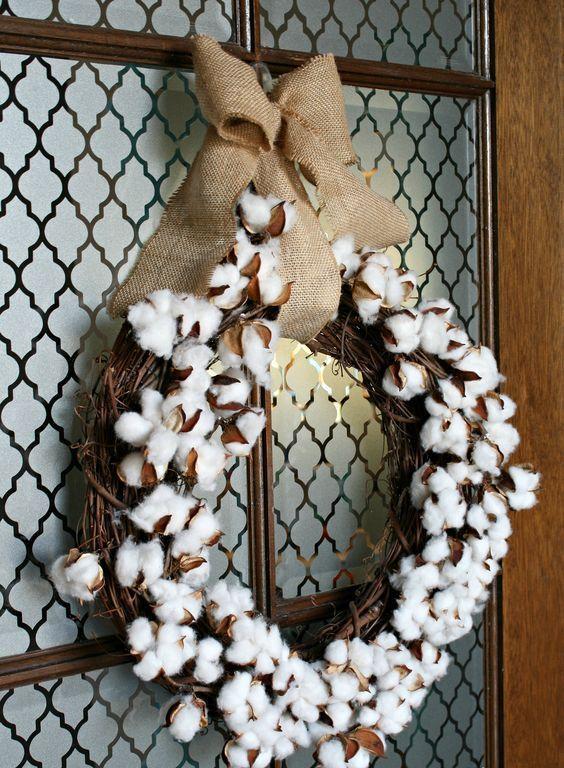 17 Cute And Soft Cotton Ball Decor Ideas Cotton Boll Wreath Diy Wreath Cotton Wreath Diy