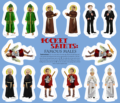 Pocket Saints: Famous Males fabric by magneticcatholic on Spoonflower - custom fabric...I just figured out what a fat quarter is. =)