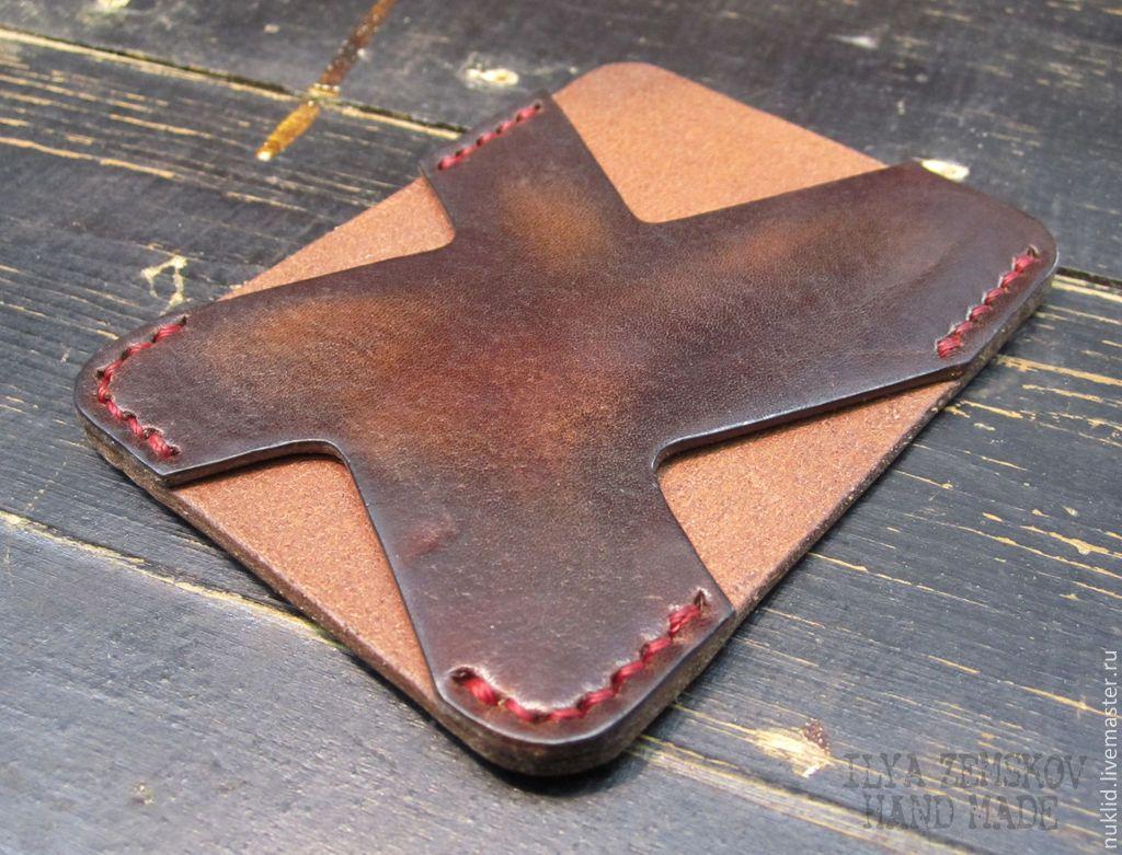 Купить Картхолдер - коричневый, натуральная кожа, кожа, кожа натуральная, картхолдер, для пластиковых карт