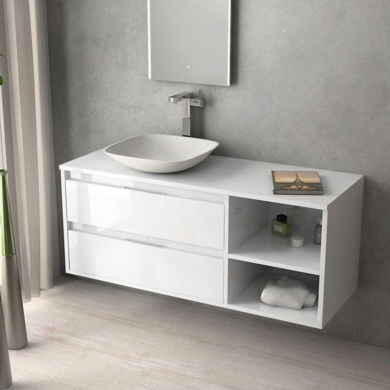 Meuble salle de bain blanc brillant 120 cm, 2 tiroirs