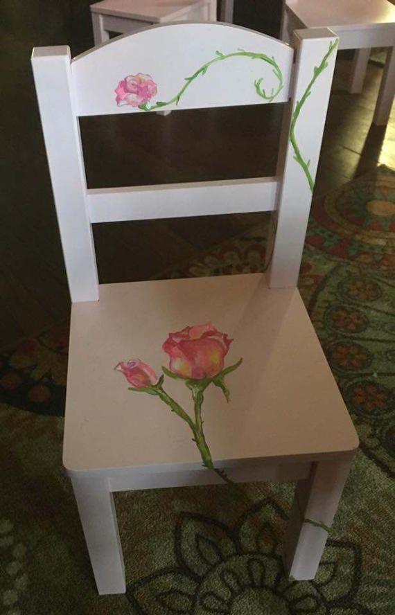Luz rosa conjunto rosa jardín de niños mesa y silla pintadas ...