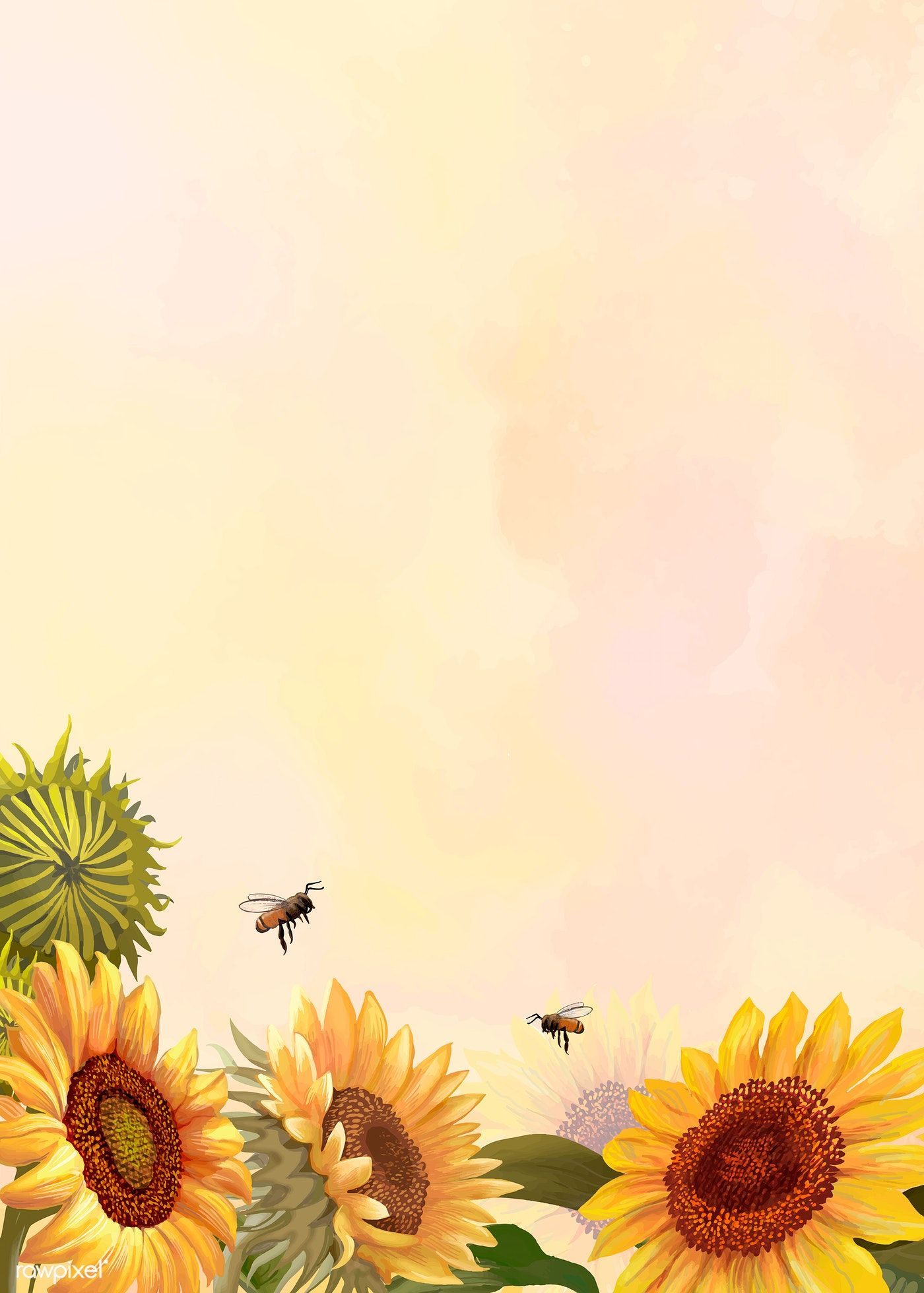 Download Premium Vector Of Hand Drawn Sunflower On A Yellow