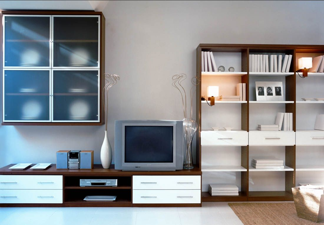 r mueble para el saln con mdulos para tv de cajones y huecos estanteras