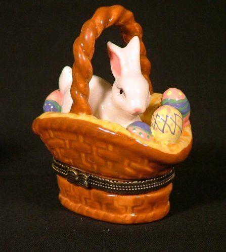 Rabbit easter bunny eggs in basket trinket box phb new by art rabbit easter bunny eggs in basket trinket box phb new by art gifts 898 negle Image collections