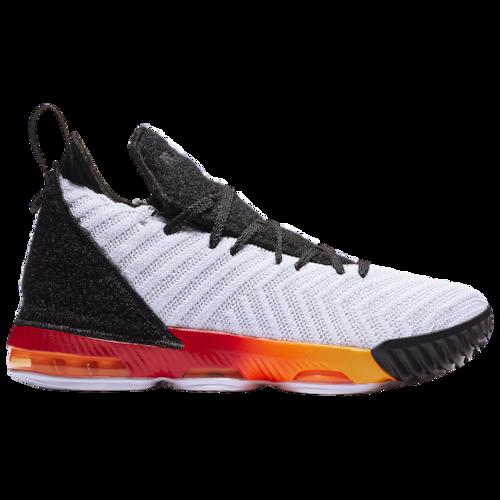 Nike Lebron Xvi Active Basketball Shoes White Laser Orange Total University Red Basketball Shoes Lebron James Shoes Nike Kids