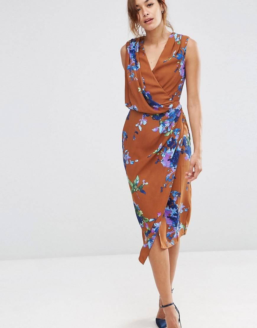 Asos wedding guest dress midi  ASOS  ASOS Drape Front Midi Dress In Brown Floral at ASOS  Dresses