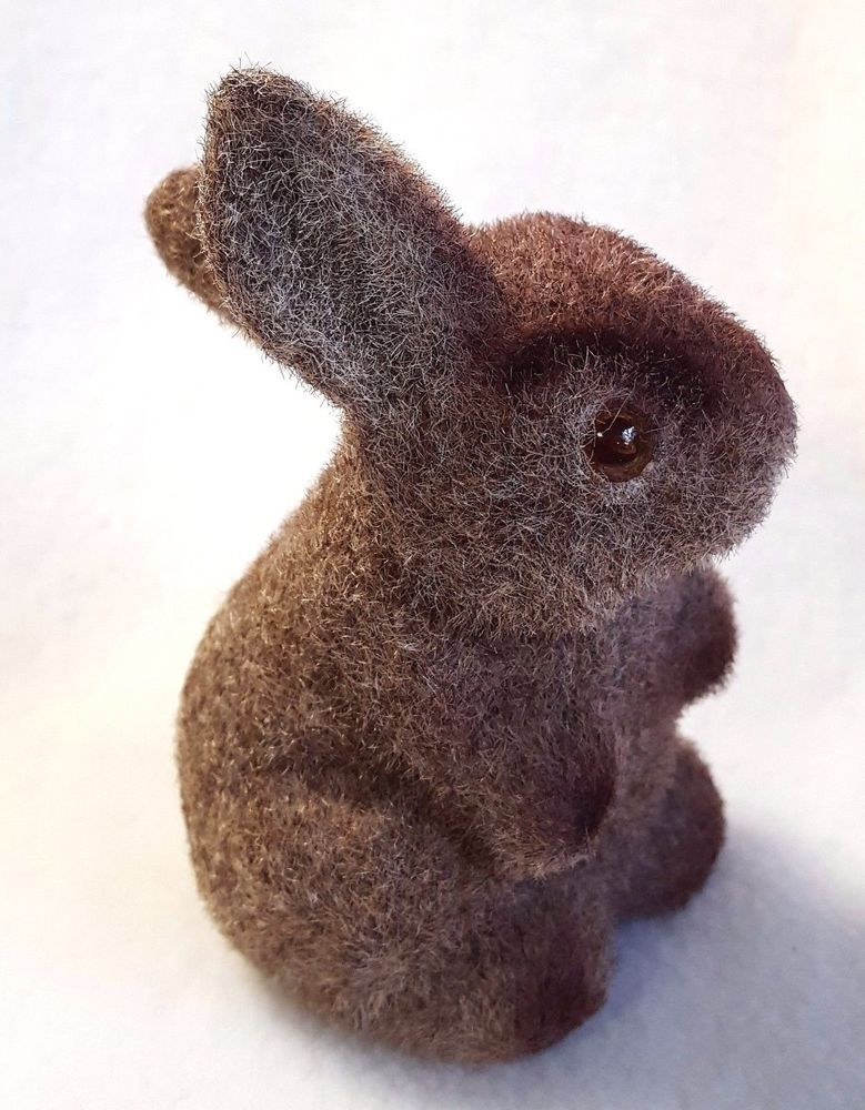 a916b316df8 Flocked Easter Bunny Figurine Brown Fuzzy Rabbit Hollow Plastic 4 ...