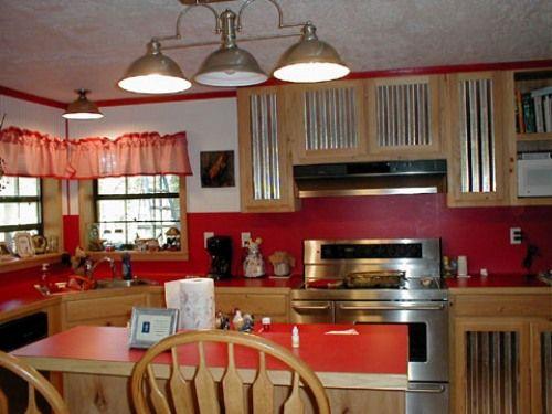 image of harmonious theme red kitchen countertops and red kitchen backsplash
