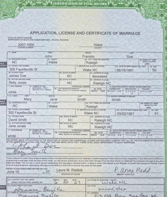 wake county nc marriage license info...including online application ...