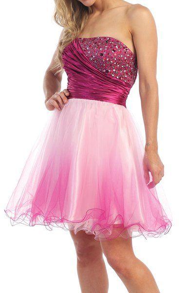Short Ombre Magenta Tulle Dress Strapless Poofy Skirt Beading Satin $147.99