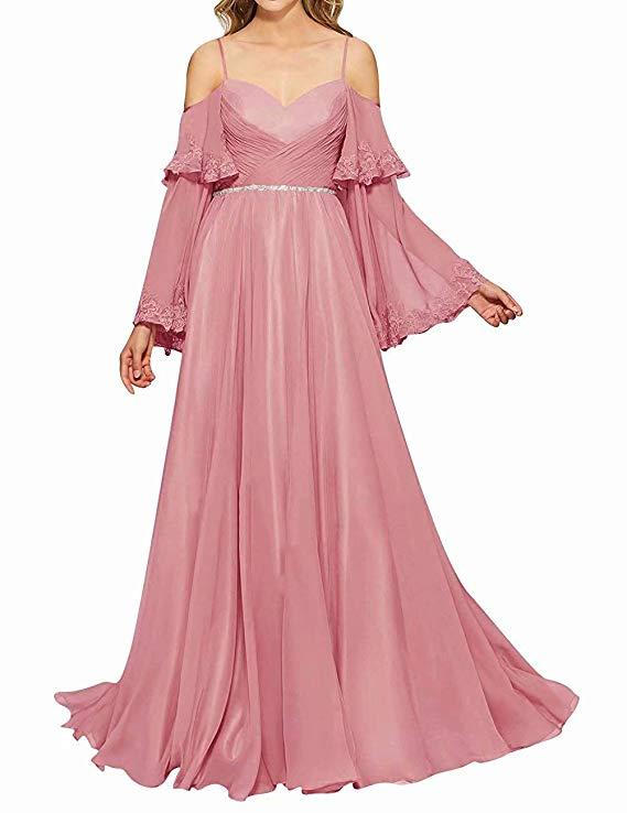Dorliki Damen Elegant Abendkleider mit Ärmel A-Linie ...
