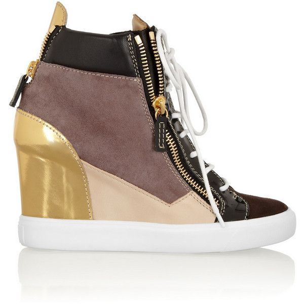 Giuseppe Zanotti Lorenz metallic leather and suede wedge sneakers ($695) ❤  liked on Polyvore featuring shoes, sneakers, heels, brown, heeled sneake…