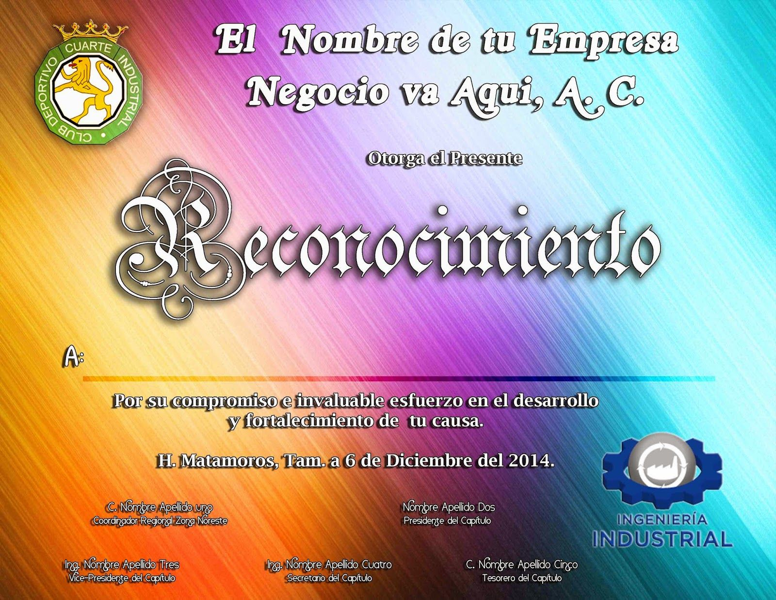 Plantilla de Reconocimiento editable PSD Gratis - Marcos Gratis Para ...