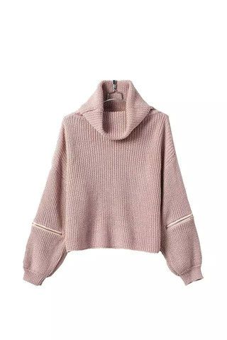 Short Turtle Neck Sweater in Pink