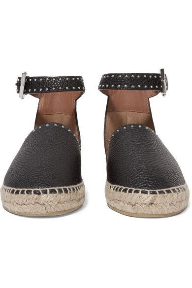 Givenchy - Studded Textured-leather Espadrilles - Black - IT37