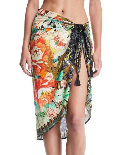 23070685eb Camilla Floral Printed Sarong Coverup with Tassels Sarong Wrap, Cruise  Outfits, Island Girl,