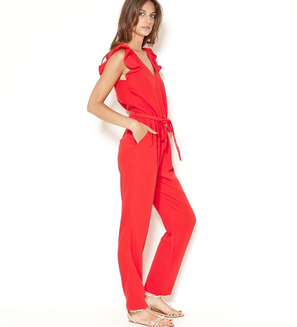 82d78e9d63708c Combinaison pantalon manches volantes rouge corail Camaïeu 2017 ...
