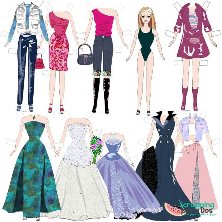 Muñecas Recortables De Papel Imprimibles De Barbie Con Vestidos Muñecas Recortables Vestidos De Papel Imagenes De Muñecas Lindas